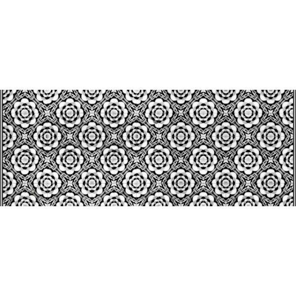 Vinyl Teppich MATTEO Tiles graphic flowers black rim 70 x 180 cm
