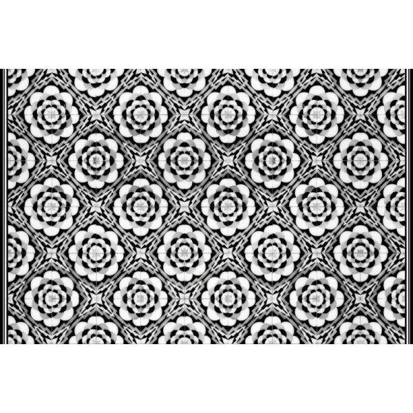 Vinyl Teppich MATTEO Tiles graphic flowers black rim 90 x 135 cm