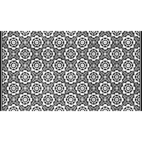Vinyl Teppich MATTEO Tiles graphic flowers black rim 90 x 160 cm