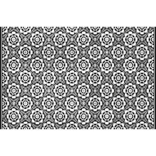 Vinyl Teppich MATTEO Tiles graphic flowers black rim 118 x 180 cm