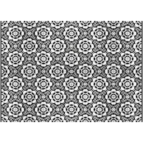 Vinyl Teppich MATTEO Tiles graphic flowers black rim 140 x 200 cm