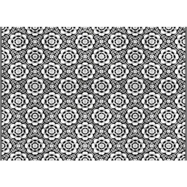 Vinyl Teppich MATTEO Tiles graphic flowers black rim 170 x 240 cm
