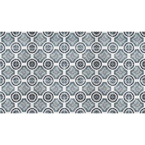 Vinyl Teppich MATTEO Tiles royal petrol rim 90 x 160 cm