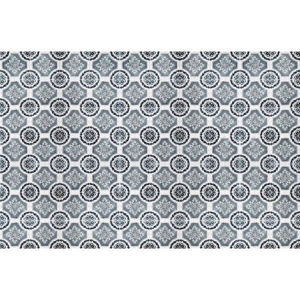 Vinyl Teppich MATTEO Tiles royal petrol rim 118 x 180 cm