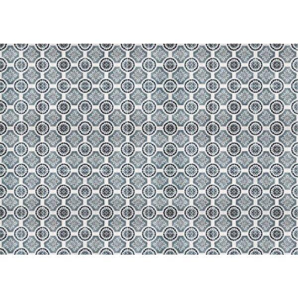 Vinyl Teppich MATTEO Tiles royal petrol rim 198 x 300 cm