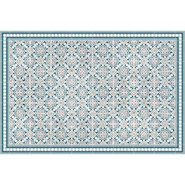 Vinyl Teppich MATTEO Tiles Morrocan blue 140 x 200 cm