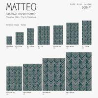 Vinyl Teppich MATTEO Natural 2 Fischgräten dunkelgrün 60 x 90 cm