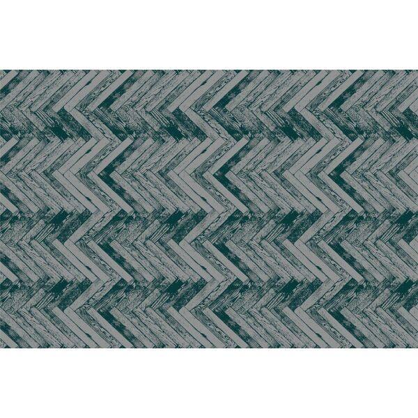 Vinyl Teppich MATTEO Natural 2 Fischgräten dunkelgrün 90 x 135 cm