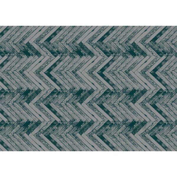 Vinyl Teppich MATTEO Natural 2 Fischgräten dunkelgrün 170 x 240 cm