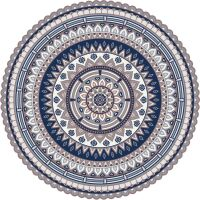 Vinyl Teppich rund MATTEO Mandala 2 blau