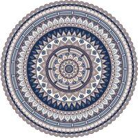 Vinyl Teppich rund MATTEO Mandala 2 blau Ø100 cm