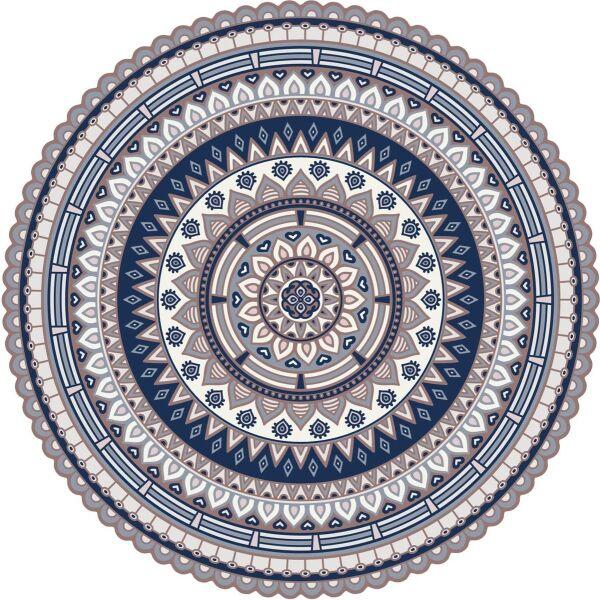 Vinyl Teppich rund MATTEO Mandala 2 blau Ø118 cm