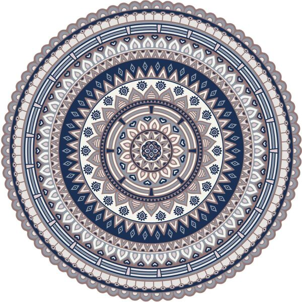 Vinyl Teppich rund MATTEO Mandala 2 blau Ø145 cm