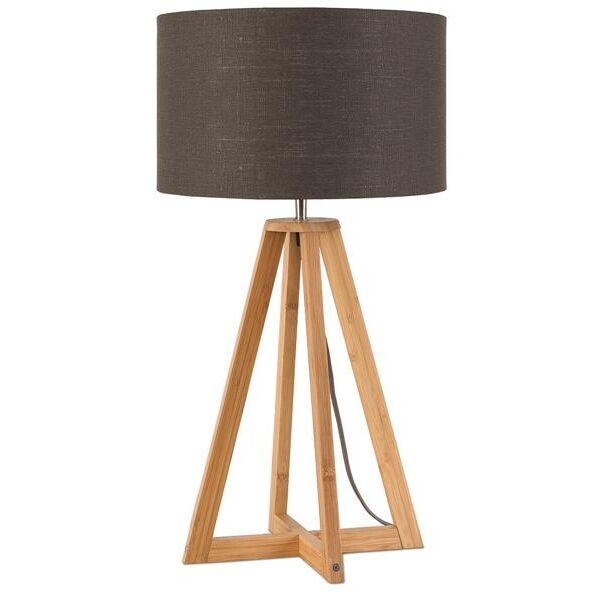 Tischlampe Everest Bambus Leinen Dunkelgrau