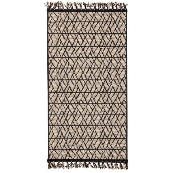 Teppich SADAR Jacquard creme/schwarz mit Fransen 60 x 110 cm