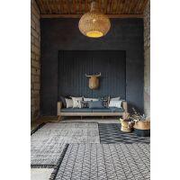 Teppich SADAR Jacquard creme/schwarz mit Fransen 120 x 170 cm