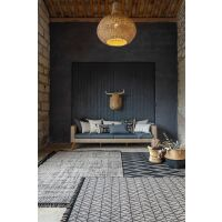 Teppich SADAR Jacquard creme/schwarz mit Fransen 160 x 230 cm