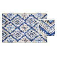 Vinyl Teppich MATTEO Azteken blau 40 x 60 cm