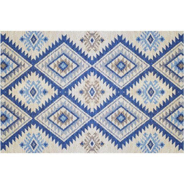 Vinyl Teppich MATTEO Azteken blau 60 x 90 cm