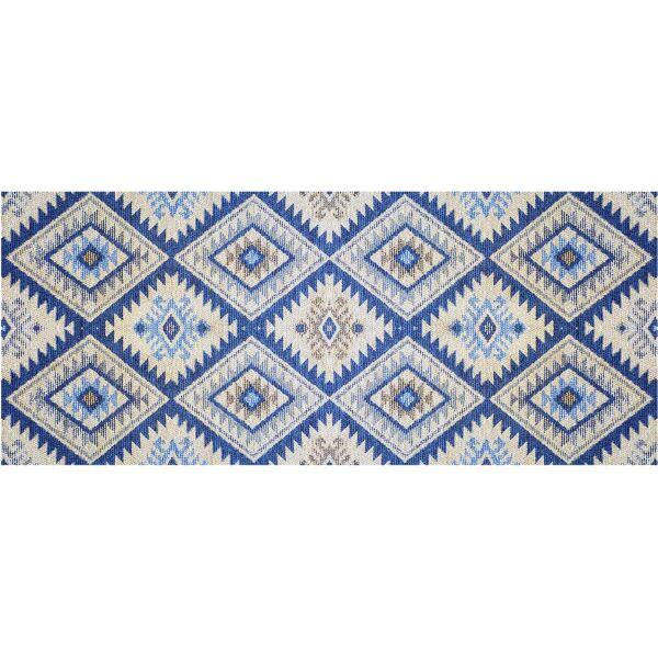 Vinyl Teppich MATTEO Azteken blau 50 x 120 cm