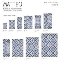 Vinyl Teppich MATTEO Azteken blau 70 x 140 cm