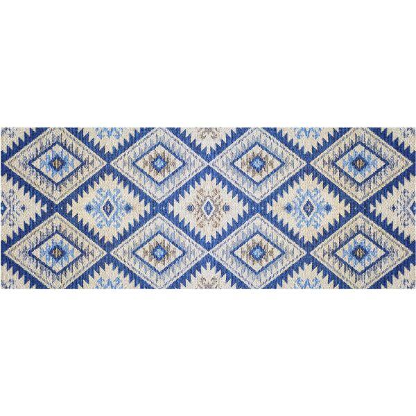 Vinyl Teppich MATTEO Azteken blau 70 x 180 cm
