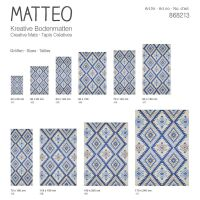 Vinyl Teppich MATTEO Azteken blau 140 x 200 cm