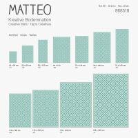 Vinyl Teppich MATTEO Ethno 1 Türkis 40 x 60 cm