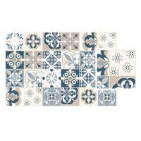Vinyl Teppich MATTEO Mosaic blau/beige 40 x 60 cm