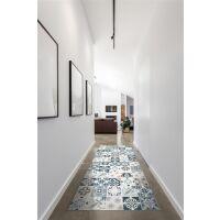 Vinyl Teppich MATTEO Mosaic blau/beige 50 x 120 cm