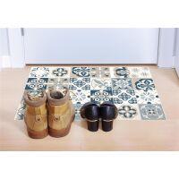 Vinyl Teppich MATTEO Mosaic blau/beige 90 x 135 cm