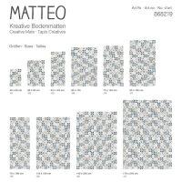 Vinyl Teppich MATTEO Mosaic blau/beige 90 x 160 cm