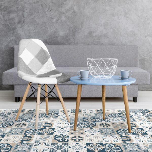Vinyl Teppich MATTEO Mosaic blau/beige 198 x 300 cm