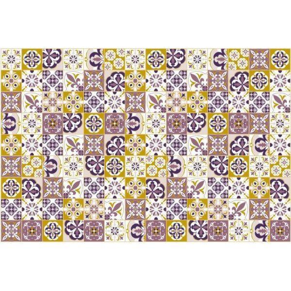 Vinyl Teppich MATTEO Mosaik lila 90 x 135 cm