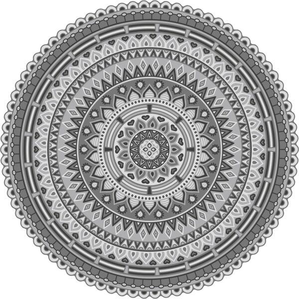 Vinyl Teppich rund MATTEO Mandala 2 grau