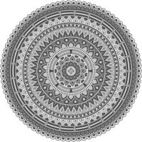 Vinyl Teppich rund MATTEO Mandala 2 grau Ø80 cm