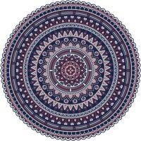 Vinyl Teppich rund MATTEO Mandala 2 rot