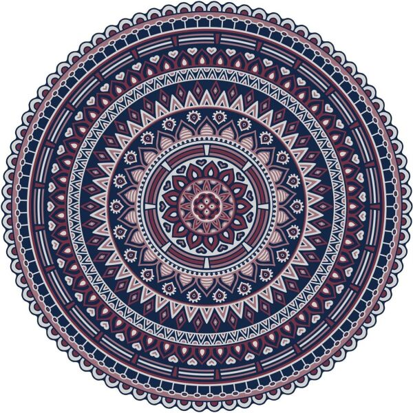 Vinyl Teppich rund MATTEO Mandala 2 rot Ø100 cm