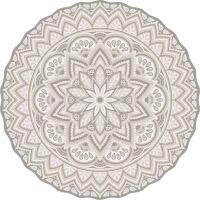 Vinyl Teppich rund MATTEO Mandala 3 Beige
