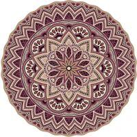 Vinyl Teppich rund MATTEO Mandala 3 rot