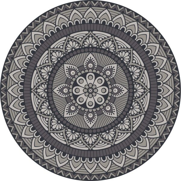Vinyl Teppich rund MATTEO Mandala 1 grau Ø80 cm