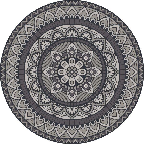 Vinyl Teppich rund MATTEO Mandala 1 grau Ø118 cm